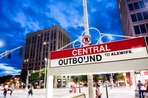 A sign that reads Central Square MBTA stop in Central Square, MA.