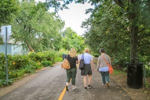 Three people walk down a tree-lined path in Davis Square, Somerville.